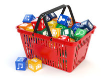 Application software icons  boxes in the shopping basket  isolat Royalty Free Stock Photography