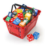 Application software icons  boxes in the shopping basket  isolat Royalty Free Stock Image