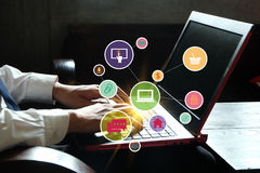 application software icons on laptop , business concept, shopping online concept , business idea