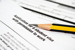 Application for student  visa Royalty Free Stock Photography