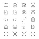 Application toolbar thin icons Stock Photo