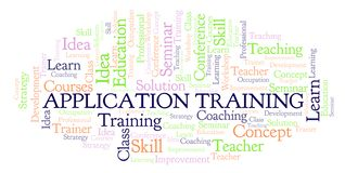 Application Training word cloud. Wordcloud made with text only vector illustration