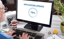 Application update concept on a computer Stock Photos