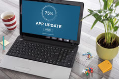 Application update concept on a laptop Stock Photo