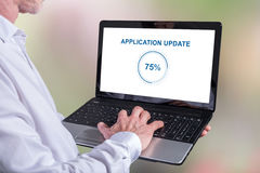 Application update concept on a laptop Stock Photos