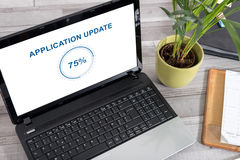 Application update concept on a laptop Stock Images