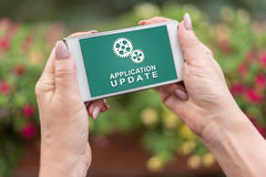 Application update concept on a smartphone Royalty Free Stock Photography