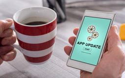 Application update concept on a smartphone Stock Photos