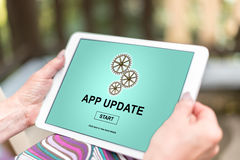 Application update concept on a tablet Stock Image