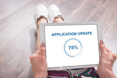 Application update concept on a tablet Stock Photo
