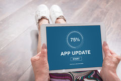 Application update concept on a tablet Royalty Free Stock Photos