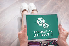 Application update concept on a tablet Royalty Free Stock Photography