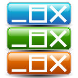 Application window control buttons. (Minimize, maximize, close w. Vector illustration of application window control buttons. Minimize, maximize, close window Royalty Free Stock Images