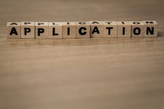 Application in wooden cubes Stock Photo