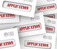 Application Word Envelopes Many Candidates Apply Job Loan Letter. Application word on envelopes to illustrate many candidates, job offers or opportunities to Stock Photos