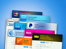 Applications for business on computer display Royalty Free Stock Photos