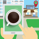 Applications can benefit from finding a cafe on the tablet. Stock Image