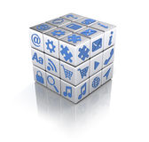 Applications concept. Cube of apps icons on white - Applications concept Royalty Free Stock Photos