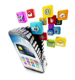 Applications downloading in smartphone Royalty Free Stock Image