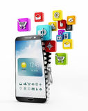 Applications downloading in smartphone. Colorful applications downloading into the smartphone Stock Images