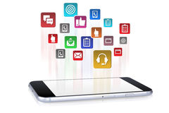 Applications downloading into smartphone device Stock Image