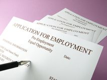 Fill out job applications. Close-up on a  applications for employment (curriculum vitae) Some texts in focus Stock Photos