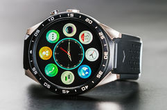 Applications and features installed in smart watches. MOSCOW, RUSSIA - October 11, 2016: applications and features installed in smart watches KINGWEAR KW88 on Royalty Free Stock Photography