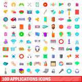 100 applications icons set, cartoon style. 100 applications icons set in cartoon style for any design vector illustration royalty free illustration