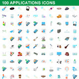 100 applications icons set, cartoon style. 100 applications icons set in cartoon style for any design vector illustration Royalty Free Stock Images