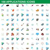 100 applications icons set, cartoon style. 100 applications icons set in cartoon style for any design illustration royalty free illustration