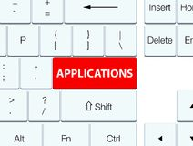 Applications red keyboard button. Applications isolated on red keyboard button abstract illustration Stock Image