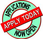 Applications Now Open – Apply today. A 3D rendered seal indicating that potential applicants can now apply for acceptance of a Job, membership or other Royalty Free Stock Image