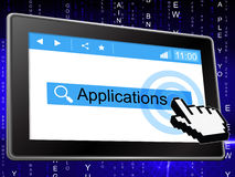Applications Online Means World Wide Web And Searching Stock Images