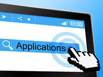 Applications Online Shows World Wide Web And Network. Applications Online Representing World Wide Web And Website Stock Photo