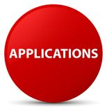 Applications red round button. Applications isolated on red round button abstract illustration Stock Photos