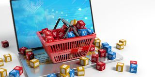 Applications symbols in a shopping basket. 3d illustration Royalty Free Stock Photo