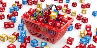 Applications symbols in a shopping basket. 3d illustration Stock Image