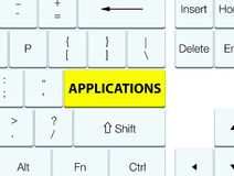 Applications yellow keyboard button. Applications isolated on yellow keyboard button abstract illustration Royalty Free Stock Photo