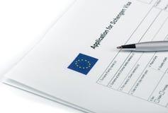Applicatoin για τη θεώρηση του Schengen Στοκ φωτογραφία με δικαίωμα ελεύθερης χρήσης