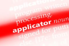 Applicator. Word in a dictionary.  concept Royalty Free Stock Images