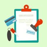 Applicazione approvata di mutuo ipotecario con la chiave dell'automobile illustrazione di stock