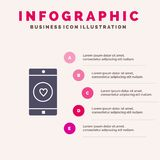 Applicazione, cellulare, applicazione mobile, simile, fondo solido di presentazione di punti di Infographics 5 dell'icona del cuo illustrazione di stock