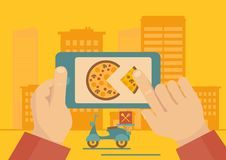 Applicazione d'ordinazione di consegna della pizza Fotografie Stock Libere da Diritti