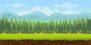 Applicazione del fondo del gioco della foresta 2d illustrazione di stock