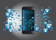Applicazione del mondo di acquisto di Smartphone Fotografie Stock