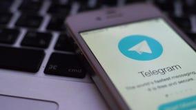 Applicazione del telegramma sull'aggeggio di iPhone Il telegramma è ad un servizio di messaggistica immediata basato a nuvola A R archivi video