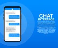 Applicazione dell'interfaccia di chiacchierata con la finestra di dialogo Pulisca il concetto di progetto mobile di UI Messaggero illustrazione vettoriale
