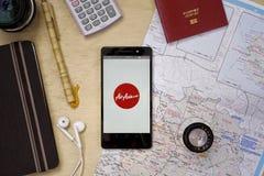 Applicazione di Air Asia Immagini Stock Libere da Diritti