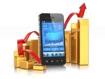 Applicazione di borsa valori sul cellulare e sul grafico. illustrazione di stock