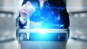 Applicazione di investimento di commercio di strategia di marketing di business intelligence sullo schermo virtuale Concetto di t illustrazione di stock